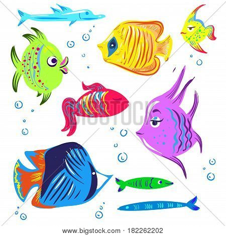 fish cartoon collection vector hand drawn cute