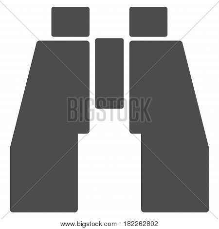 Find Binoculars vector icon. Illustration style is a flat iconic gray symbol on a white background.
