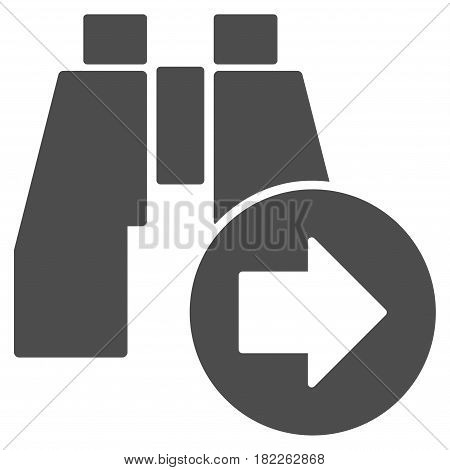 Find Next Binoculars vector pictogram. Illustration style is a flat iconic grey symbol on a white background.