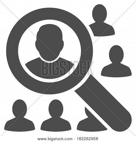 Find Users vector icon. Illustration style is a flat iconic gray symbol on a white background.
