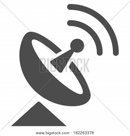 Radio Telescope vector icon. Illustration style is a flat iconic gray symbol on a white background.
