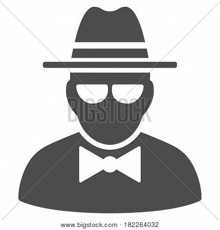 Secret Agent vector icon. Illustration style is a flat iconic grey symbol on a white background.