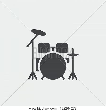 drum kit icon isolated on grey background