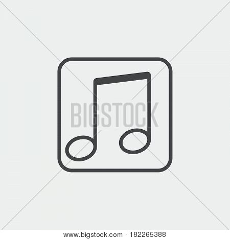 music note icon isolated on grey background