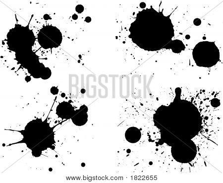 4 Black Splats Ii.Eps