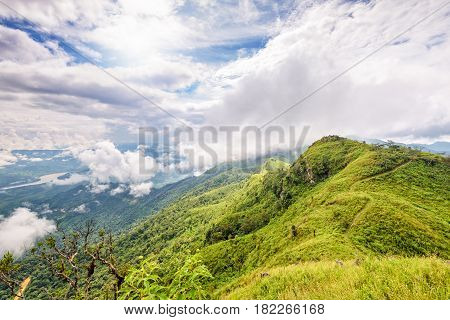 Beautiful natural landscape from the high angle view of Mekong River forest and clouds in the sky on the mountain at Doi Pha Tang view point Chiang Rai Province Thailand