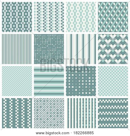 Collection of 16 cute seamless patterns with stripes stars bricks. Geo seamless pattern with pastel blue and grey. Useful for fabric print wrapping paper scrap booking web design