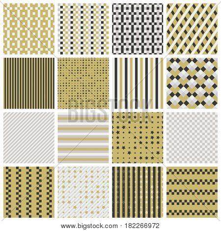 Collection of 16 cute seamless patterns with stripes stars bricks. Geo seamless pattern with gold and grey. Useful for fabric print wrapping paper scrap booking web design