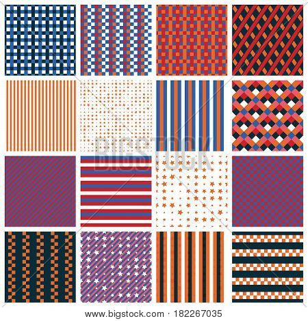 Collection of 16 cute seamless patterns with stripes stars bricks. Geo seamless pattern with purple blue and orange. Useful for fabric print wrapping paper scrap booking web design