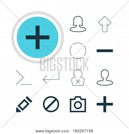 Vector Illustration Of 12 Interface Icons. Editable Pack Of Pen, Plus, Snapshot And Other Elements.