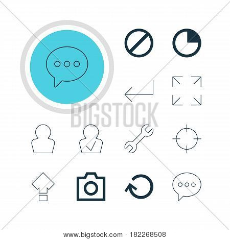 Vector Illustration Of 12 User Icons. Editable Pack Of Wide Monitor, Accsess, Message And Other Elements.