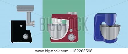 Set of Kitchen appliances. Electric mixer, meat mincer, food processor. Vector Illustration. EPS10