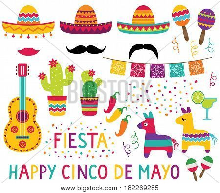 Cinco de Mayo design elements set (sombreros, pinatas, a guitar, paper flags, cactus flowers and confetti)