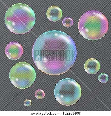 Color soap bubbles on a transparent background