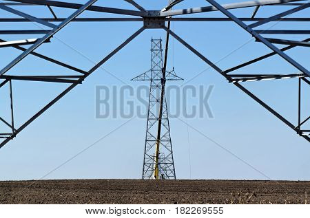 High voltage power lines under construction in Europe