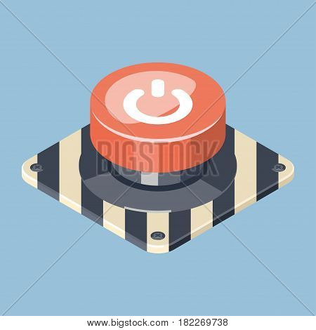 3D Emergency start stop red button. Isometric vector illustration