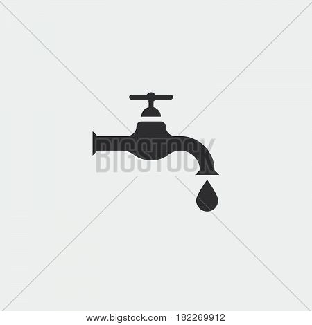 Dripping tap with drop line icon for web, mobile and infographics. Vector dark grey icon isolated on light grey background.