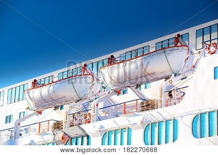 Lifeboats on a luxurious cruise ship ferry