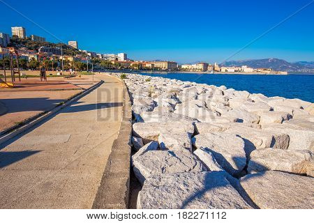 Ajaccio Old City Center Coastal Cityscape With Palm Trees And Typical Old Houses, Corsica, France, E