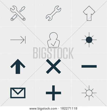 Vector Illustration Of 12 User Icons. Editable Pack Of Sunshine, Plus, Tabulation Button And Other Elements.