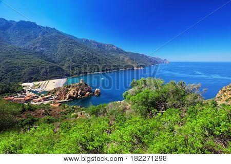 Porto Town, Near Piana With Beautiful Coastline, Corsica, France, Europe.
