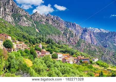 Ota Town With The Mountains In The Background Near Evisa And Porto, Corsica, France.