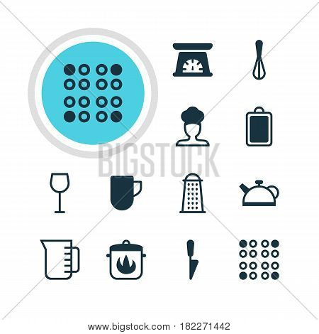 Vector Illustration Of 12 Kitchenware Icons. Editable Pack Of Tea Cup, Teakettle, Slicer And Other Elements.