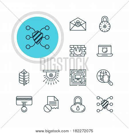 Vector Illustration Of 12 Data Icons. Editable Pack Of Safety Key, Encoder, Safe Storage And Other Elements.
