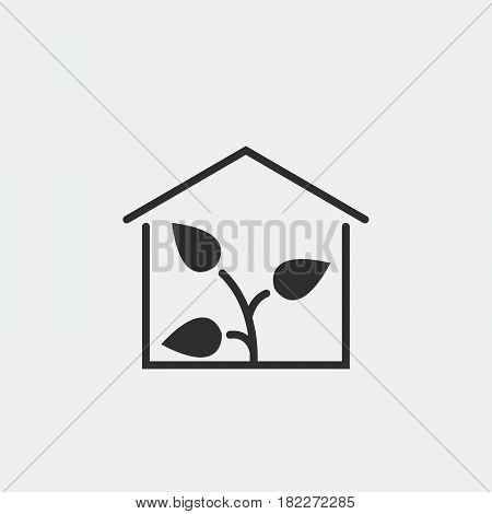 Greenhouse icon.Plant Glasshouse vector icon. Flat bicolor eco green and gray symbol. Pictogram is isolated on a white background. Designed for web and software interfaces.