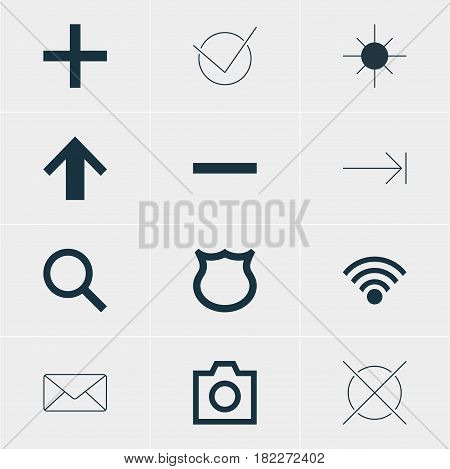 Vector Illustration Of 12 Member Icons. Editable Pack Of Yes, Cordless Connection, Cancel And Other Elements.