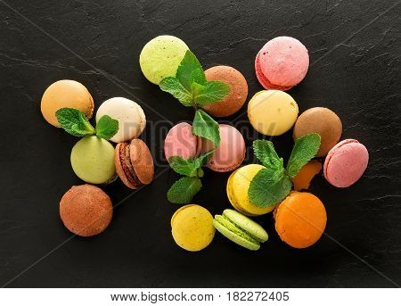Macarons On Stony Table