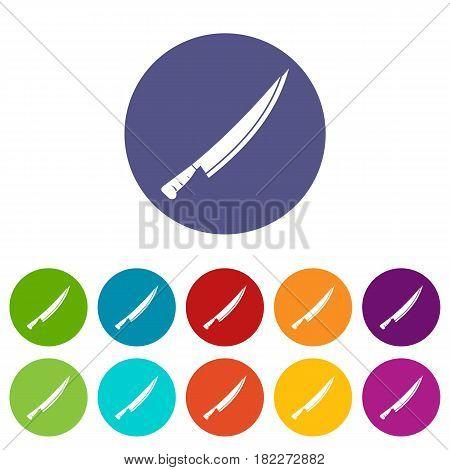 Katana icons set in circle isolated flat vector illustration