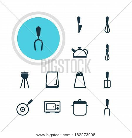 Vector Illustration Of 12 Cooking Icons. Editable Pack Of Teakettle, Kitchen Dagger, Barbecue Tool And Other Elements.