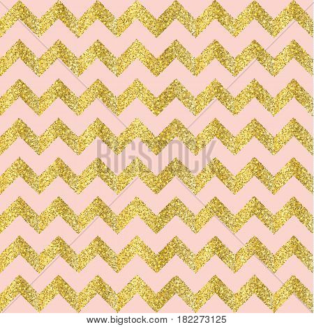 Vector Gold glittering confetti seamless pattern on chevron background. gold and pink
