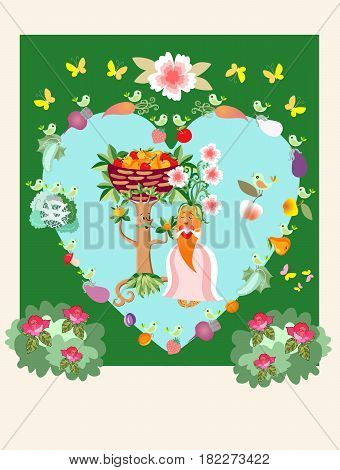 Unique wedding invitation with cute cartoon fruit tree and carrot little birds, butterflies, rose bushes and vegetables. Beautiful vector card.