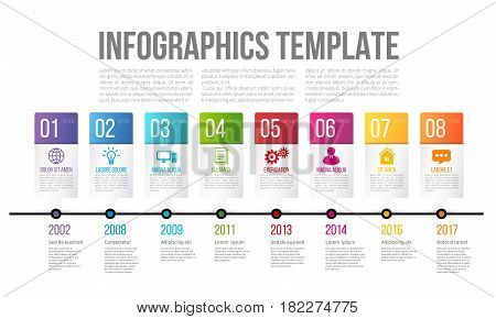 Bright and colorful timeline template with 8 steps or options for presentation of history or key features of company or product on white background
