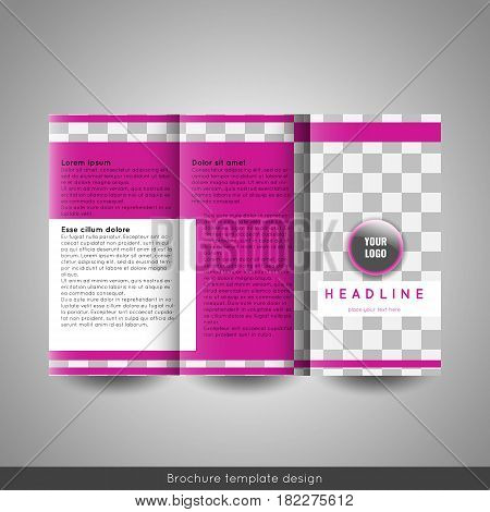 Corporate tri-fold business brochure template. With company logo and place for photo. Stock vector.