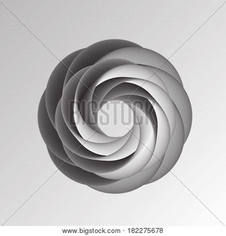 Vector illustration of abstract geometric background with black and white round shape look like 3d