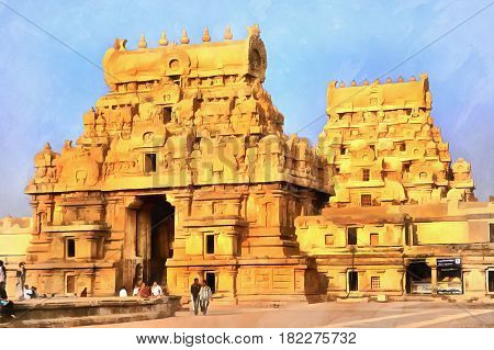 Colorful painting of Brihadeeswarar Temple, Thanjavur, Tamil Nadu, India