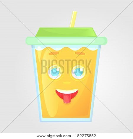 A glass of juice with a lid and a tube. Summer drink. Emotional icon funny shows the tongue happy. Orange juice in cartoon style. Vector illustration isolated on a gray background.