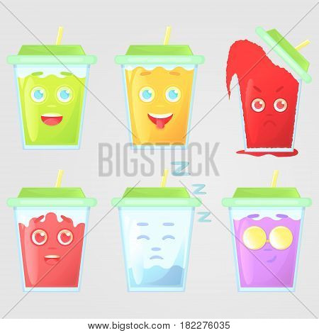 Set of colored juice with emotions. Closed green cover with straw. Funny showing tongue very angry in love sleep cool glasses smirk face. Vector illustration isolated on a gray background.