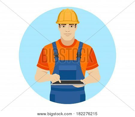 Builder using digital tablet PC. Portrait of builder character in a flat style. Vector illustration.