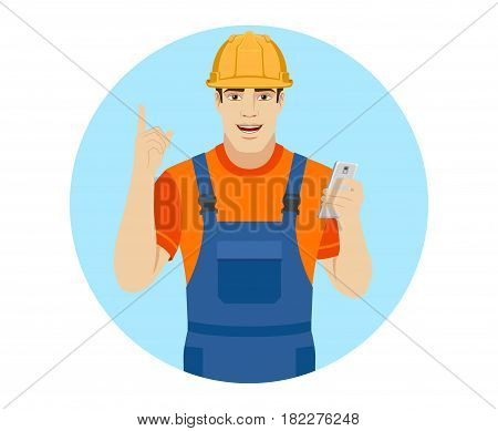 Builder with mobile phone and pointing up. Portrait of builder character in a flat style. Vector illustration.