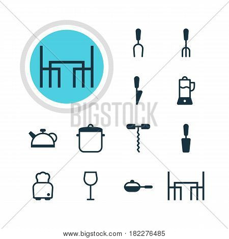 Vector Illustration Of 12 Restaurant Icons. Editable Pack Of Fork, Wine, Teakettle And Other Elements.