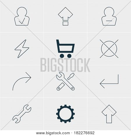 Vector Illustration Of 12 Interface Icons. Editable Pack Of Upward, Wheelbarrow, Share And Other Elements.