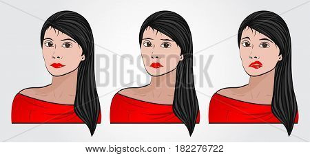 Woman with different facial expressions set red t-shirt Young Girl Female puppet Cosmetics spa beautiful Lips Vector illustration