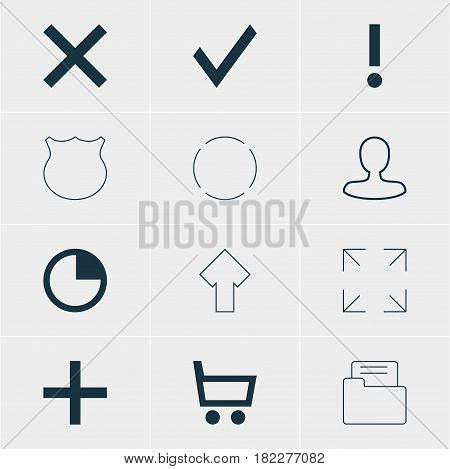 Vector Illustration Of 12 Interface Icons. Editable Pack Of Repeat, Plus, Dossier And Other Elements.