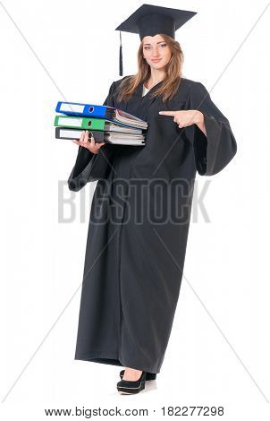 Young graduate girl student in mantle with folders, isolated on white background