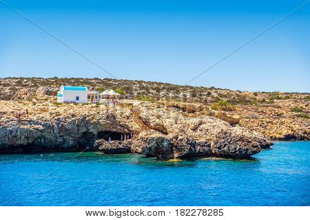 A small chapel dedicated to Agioi Anargyroi near Cape Greco. Famagusta District Cyprus