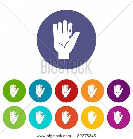 Finger with blood dripping icons set in circle isolated flat vector illustration